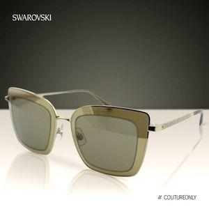 New Swarovski Champagne Crystal Square Sunglasses